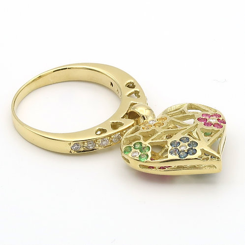 Dangling Heart Ring 18K Gold Diamonds/Multi-color Sapphires