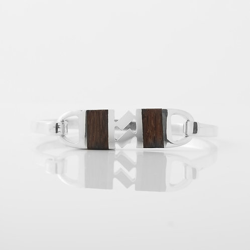Bondanza for Cartier 1970's Sterling Silver/Wood Cuff Bracelet