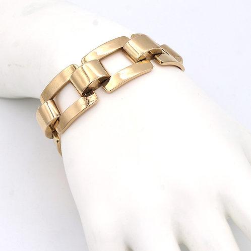 1940's Retro Link Bracelet 18K Rose Gold, Large Flat Link