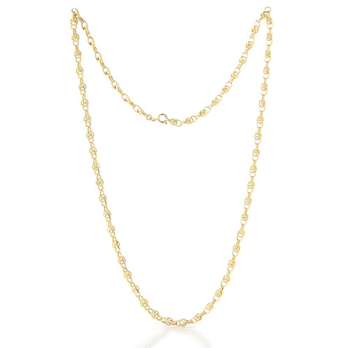 "Textured/Polished Link Chain 14K Yellow Gold 30"" Italy"