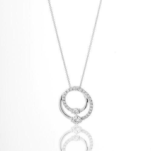 Double Diamond Circle of Life Pendant 18K White Gold