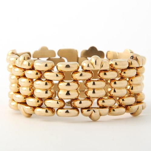 Wide 18K Gold Bracelet  Interlocking Links, Mid Century