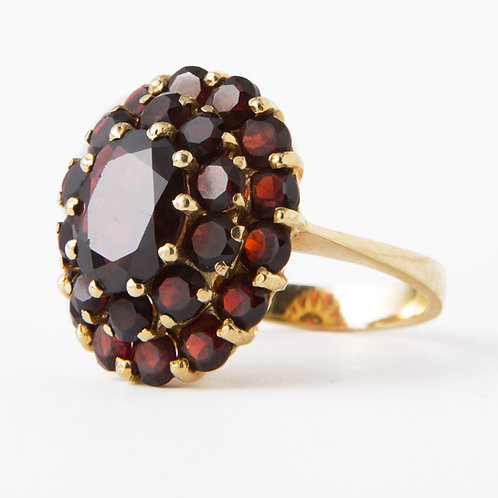 Vintage Victorian Revival Garnet 18k Yellow Gold