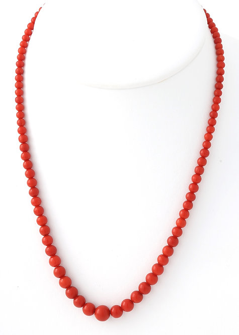 19th Century Strand of Italian Red Coral Graduated Necklace, Silver Clasp
