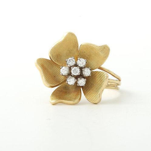 H Stern Vintage Pansy Flower Ring 18K Gold & Diamonds