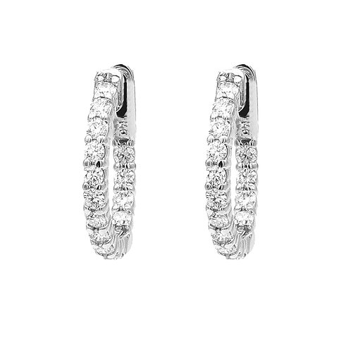 Diamond Hoops Inside Out, 2.10 CTTW, 14K White Gold, 22mm