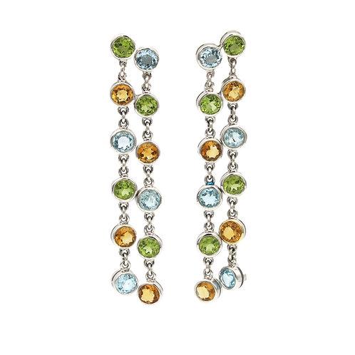 Multi Gemstone Hanging Earrings 18K White Gold