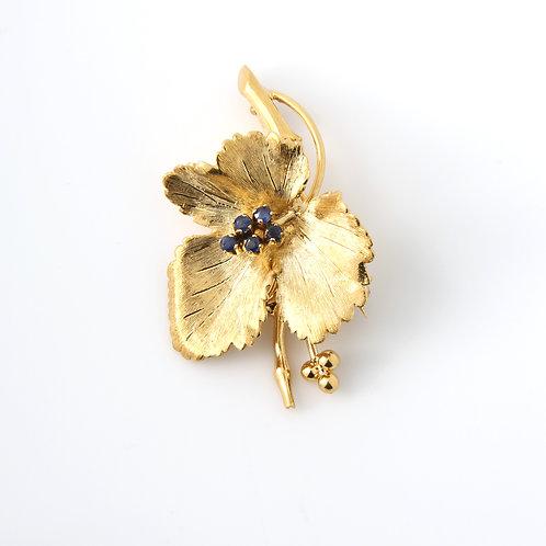 Tiffany Leaf & Sapphire Brooch, 18K Yellow Gold