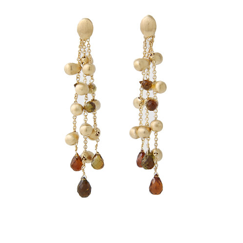 Marco Bicego 18K Gold Triple Strand Dangling Drop Earrings, Semi-Precious  2.5""