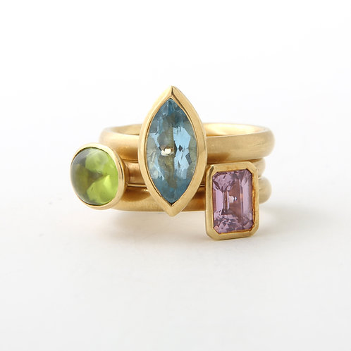 Set of Three Stackable Gem Stone Rings 18K Yellow Gold