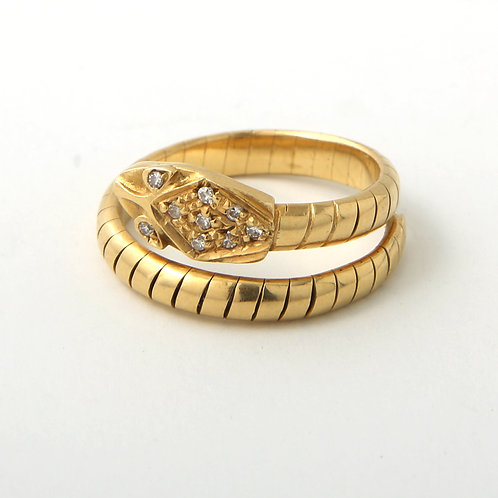 Vintage Snake Ring 18K Gold & Diamonds