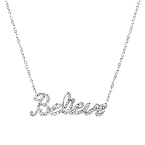 14K Gold and Diamond 'Believe' Necklace