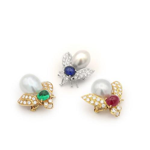 Bee Brooches Set of 3, South Sea Pearl & Diamonds/Gem Stones, 18k