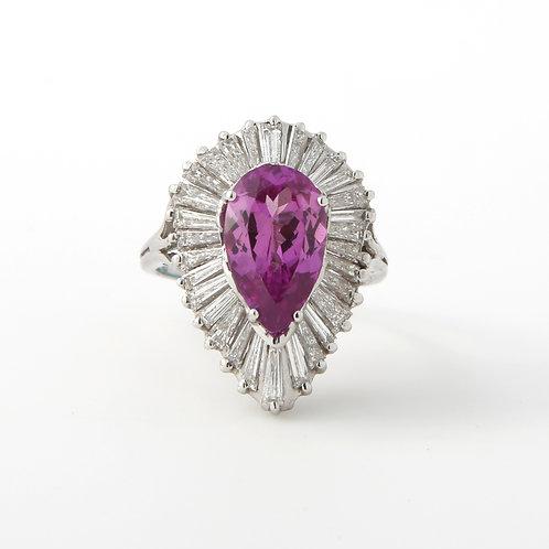 Ballerina Ring Pink Sapphire, Diamonds, 14k White Gold
