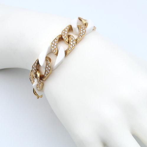 Curb Link Bracelet 18K Gold/Diamonds/White Ceramic