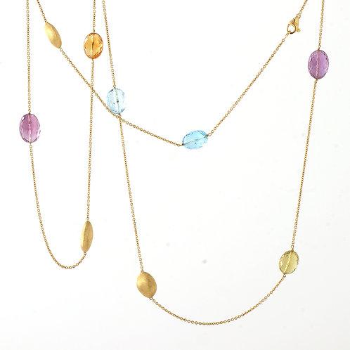 "MARCO BICEGO Siviglia 36"" Semiprecious/Gold Bead Station Necklace 18K"
