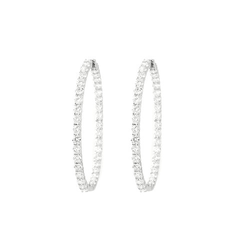 Roberto Coin, Large Inside/Out Diamond Hoop Earrings 18K White Gold