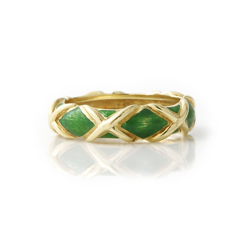 Vintage Tiffany & Co. Green Enamel X Ring 18K Yellow Gold