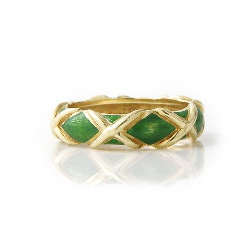 Vintage Tiffany & Co. Green Enamel X Ring 18K Yellow Gold