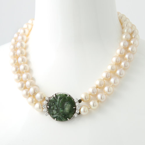 Double Strand Cultured Pearl Necklace Carved Jade & Diamond Clasp