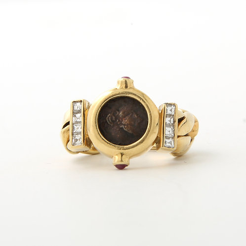Chain Ring, 18K Gold in the style of Ancient Coin &Square Cut Diamonds