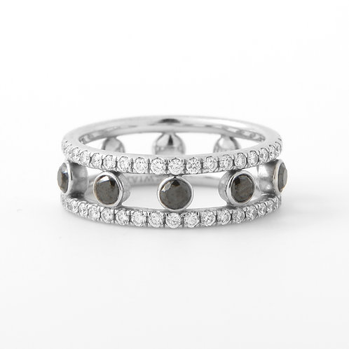 Kwiat Black & White Diamond Band Ring, 18K White Gold
