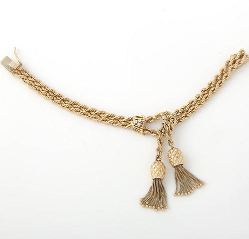 Pineapple Tassel Double Rope Chain Bracelet 14K