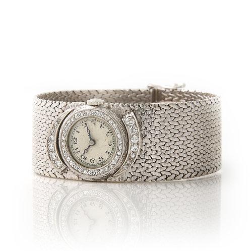 Mid Century 14K White Gold/Dias Ladies C.H. MEYLAN Dress Watch
