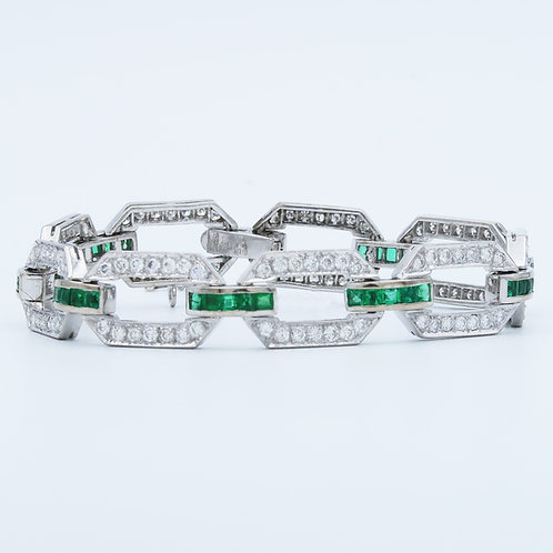 Platinum Diamond & Emerald Link Bracelet