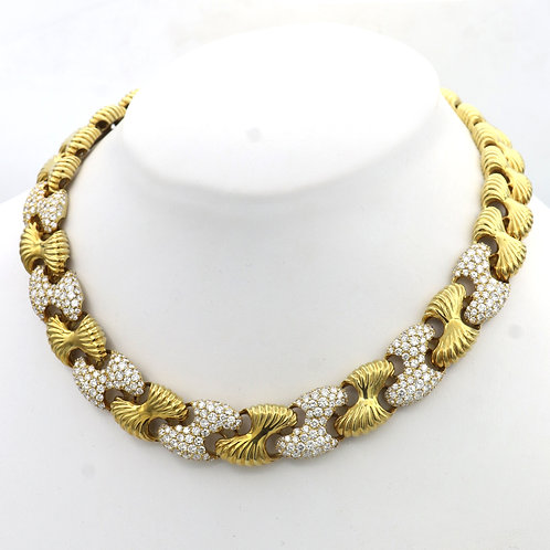Solid Heavy 18k Textured Gold & Diamond Necklace