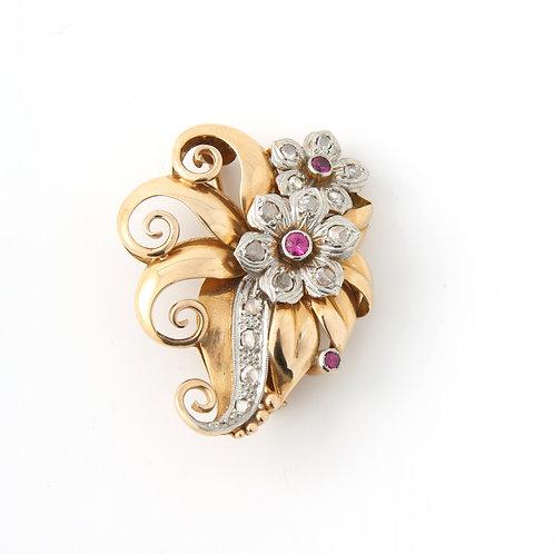 1940's Flower Brooch Diamonds/Rubies