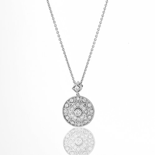 Open Design Pave Diamond Disc Pendant 18K White Gold