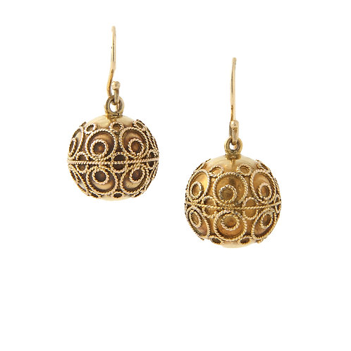 Antique, Etruscan Revival Earrings C. 1850