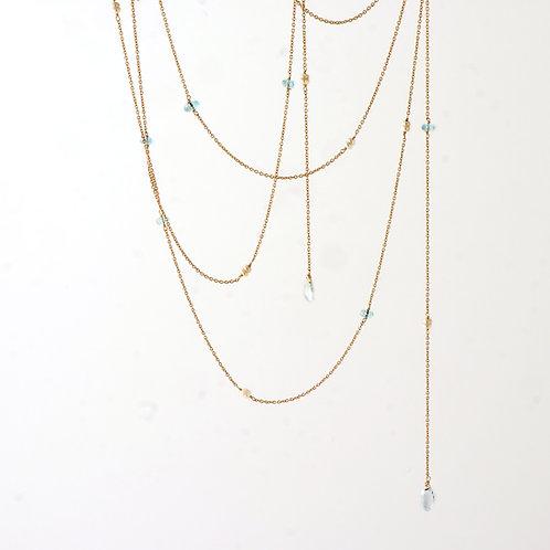 Long Chain 18K Yellow Gold w Aqua Marine /Pearl