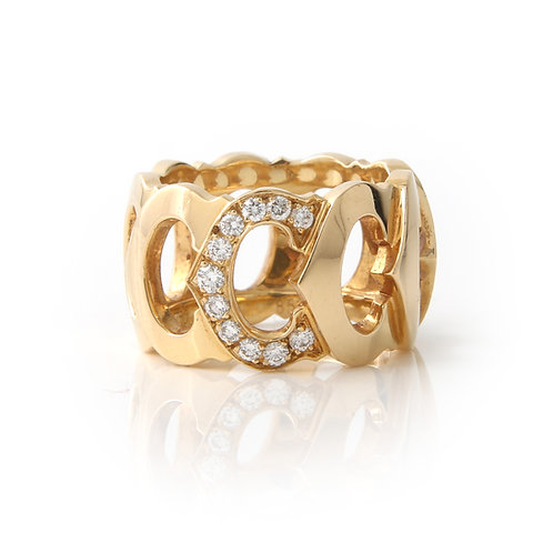 Cartier Diamond C De Cartier Band Ring size 50 18K Yellow Gold