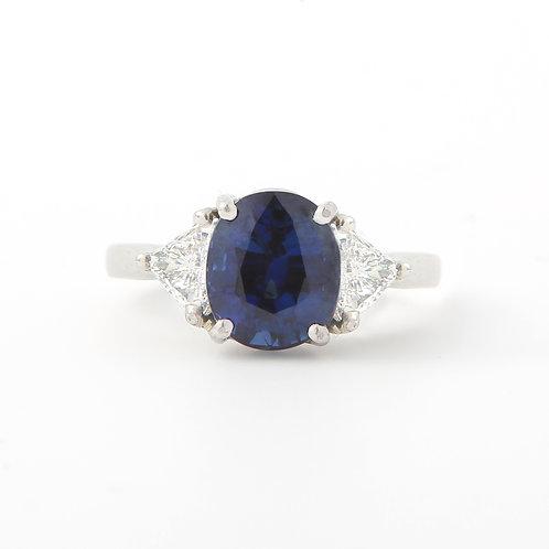 No Heat Sapphire and Diamond Three Stone Ring, Platinum