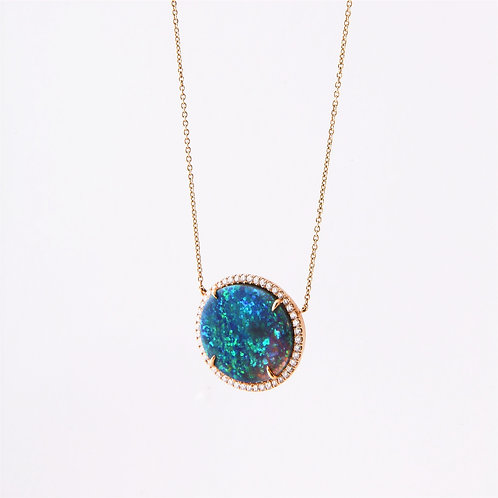 18K Yellow Gold Custom-made Australian Opal & Diamond Pendant
