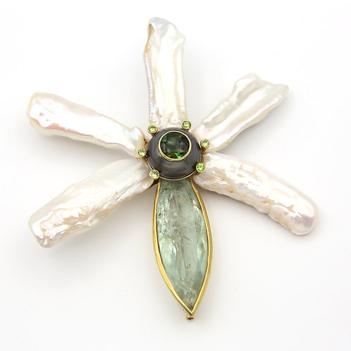 Christopher Walling Flower Pin 18K Freshwater Pearl & Tourmaline