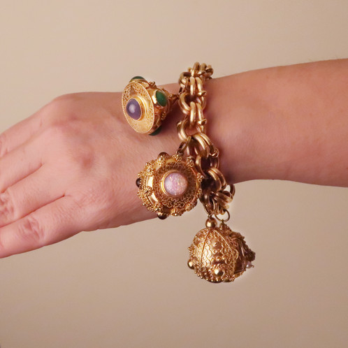 A Fabulous 18k Yellow Gold Italian Estate Charm Bracelet With Five Large Etruscan Inspired Charms Adorned Various Genuine Gemstones Including Citrine