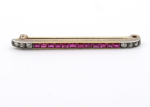 Vintage Amethyst Bar Pin 14K Mid Century
