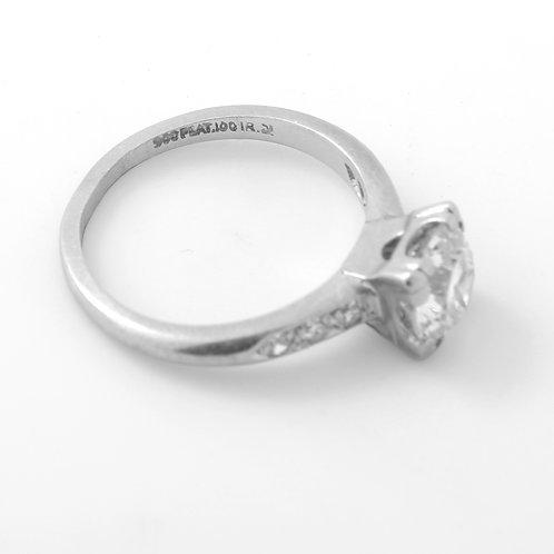 Antique, Art Deco Engagement Ring, 1.5ct  Old Euro Diamond, Platinum