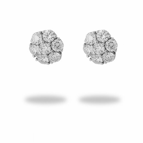 Diamond Cluster Earrings 14K White Gold 2.20 CTTW