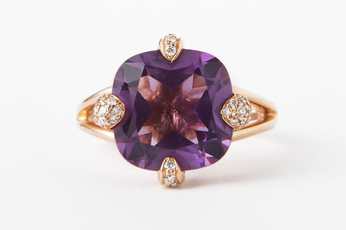 Danhier 18k Rose Gold Amethyst and DIamond Ring