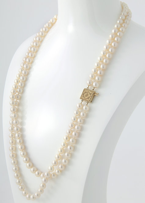 Mikimoto, Vintage Double Strand Pearl Necklace 7- 7.5mm 14K Yellow gold Clasp