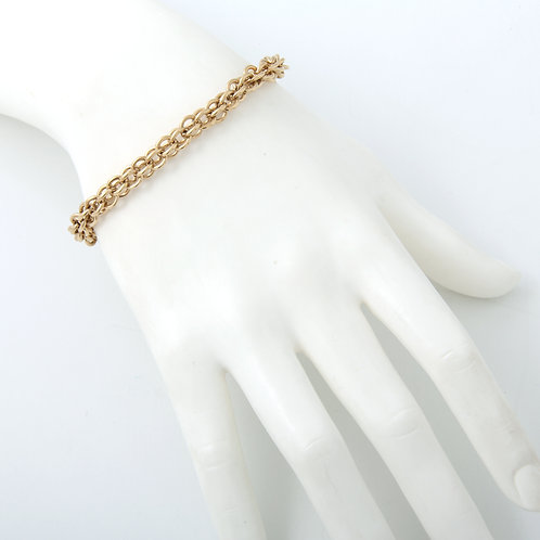 Vintage, Solid Rounded Link Bracelet 14K Yellow Gold