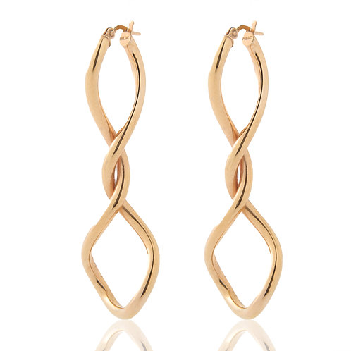14k Twisted Elongated Hoops Rose Gold, ITALY
