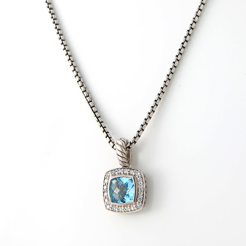 David Yurman Petite Albion Pendant/Necklace Blue Topaz & Diamond, Sterling Silv