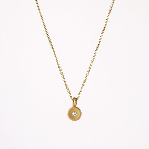 14K Gold Disc With Burnished Diamond