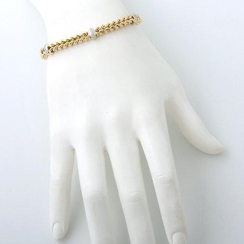 Franco Wheat Chain 14K Gold & Diamond  Bracelet
