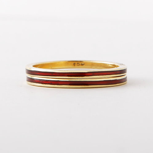 Hidalgo 18K Yellow Gold Red Enamel Set of Two Band
